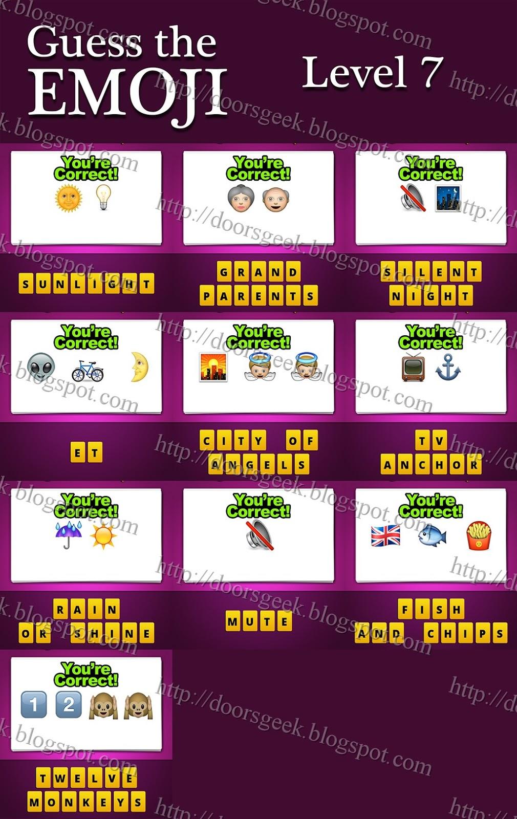 Guess The Emoji Numbers And Monkeys 07/05/14 ~ Doors Geek