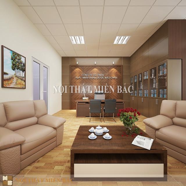 Thiết kế phòng giám đốc đẹp lịch lãm, gây ấn tượng đầu tiên với không gian nội thất sang trọng và đầy đủ tiện ngh