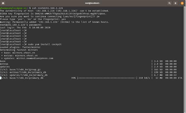 Reference - Cài đặt nhanh Cockpit Web Console trên Centos 7