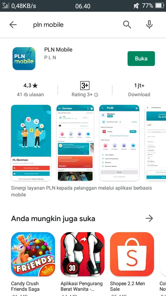 Pencarian applikasi PLN di Google Playstore