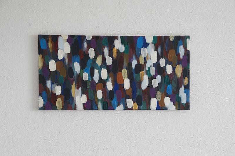 Abstrakte Malerei Acryl auf Leinwand bunt weiß Pinselstriche