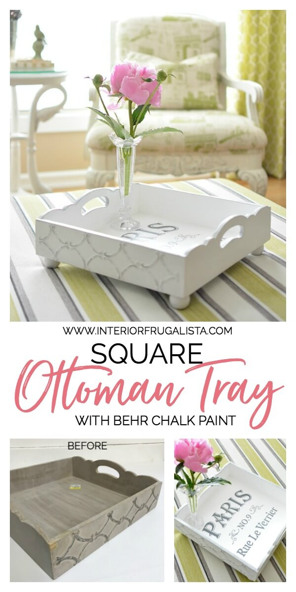 Square Ottoman Tray Makeover Before and After