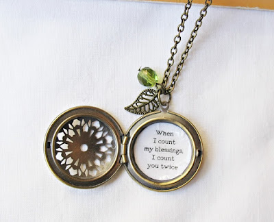 necklace locket quote typography two cheeky monkeys when i count my blessings i count you twice jewellery jewelry custom made