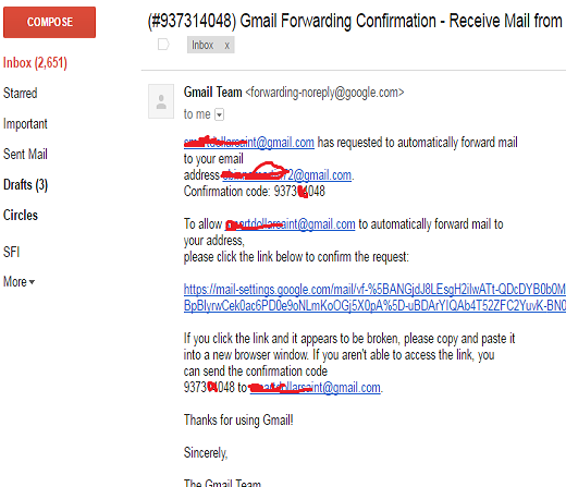 forwarding gmail mails