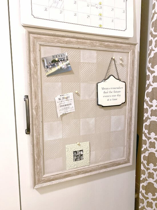 Neutral buffalo check bulletin board for the home office