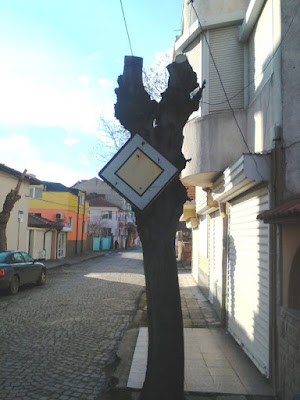 Road Sign, Nailed, Tree, Yambol,