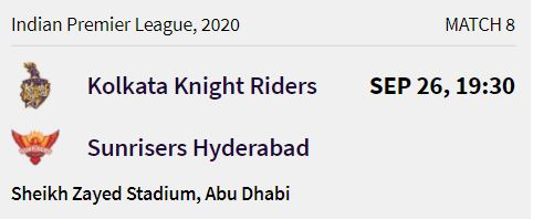 Kolkata Knight Riders match 2 ipl 2020