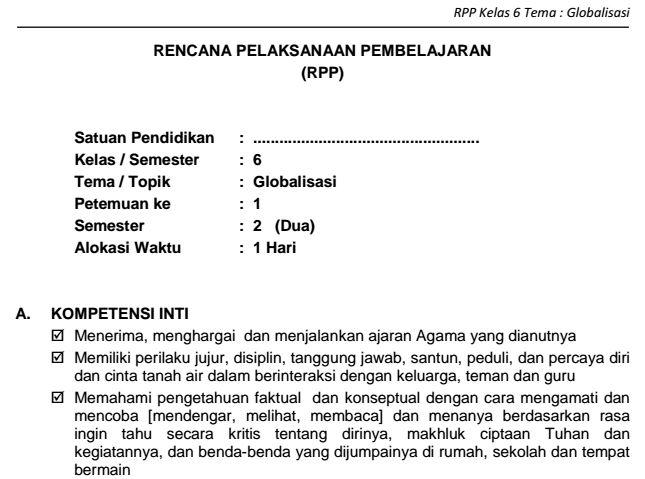 Download RPP SD Kelas VI Semester 2 Tema Globalisasi Kurikulum 2013 Format PDF