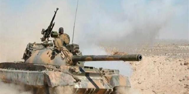 الجيش السوري يتقدم في أرض قاع البنات ببادية السويداء.