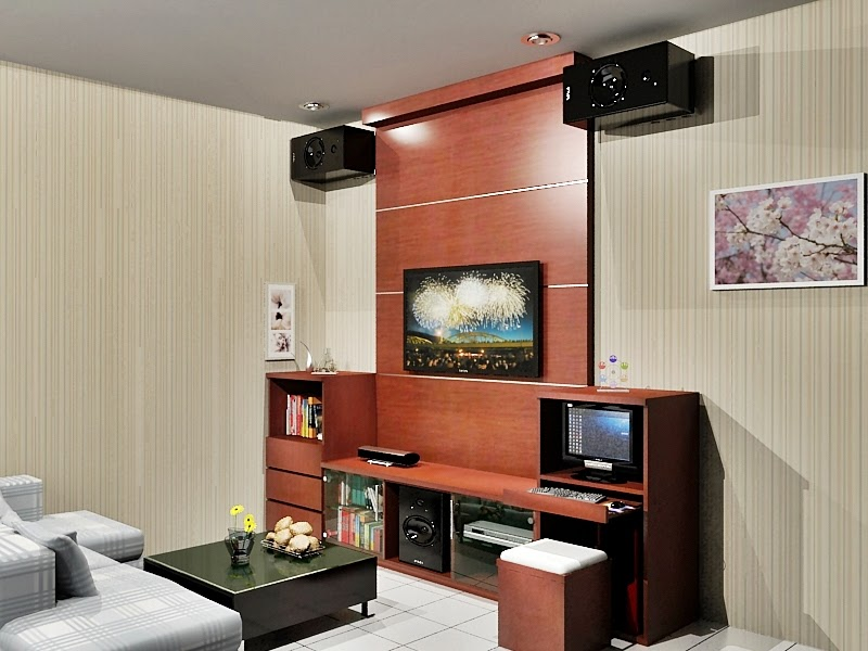 Sofa Multifungsi Minimalis Rak Tv Dengan Background | Dian Interior Design