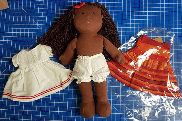 One Dear World Hearty Hope doll in underwear bloomers with change of dress