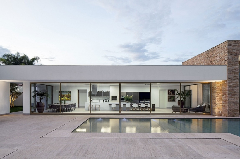 Simple glass facade on simple modern house