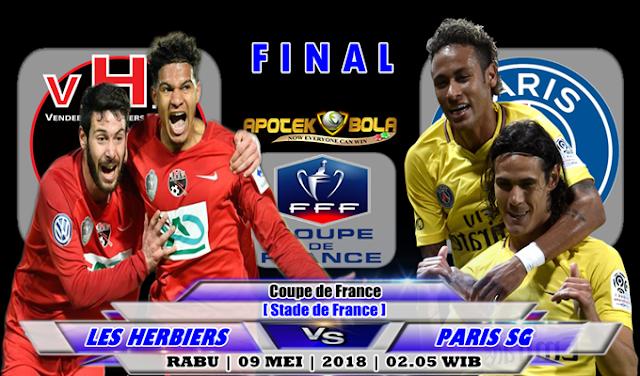 Prediksi Les Herbiers vs Paris SG 09 Mei 2018
