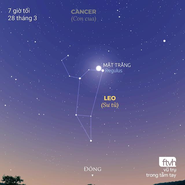 Mặt Trăng nằm vào trong lòng của Leo, chú sư tử của bầu trời, vào buổi tối ngày 28 tháng 3. Đồ họa: Stellarium, Chú thích: Ftvh - Vũ trụ trong tầm tay.