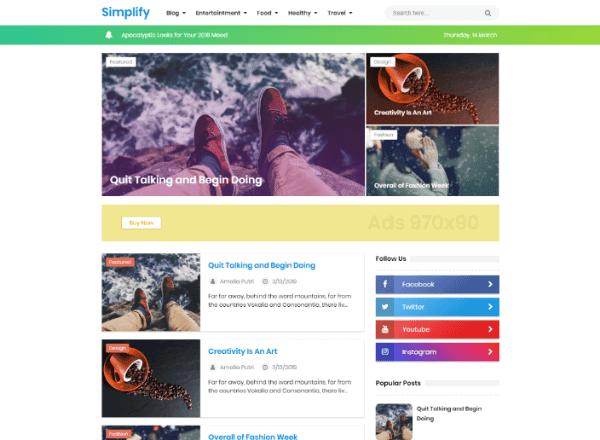 kembali lagi untuk membagikan Blogger Template Premium Responsive yaitu  New Simplify 2019 Responsive Blogger Template Premium