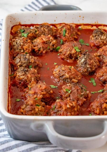 meatballs in a casserole dish.