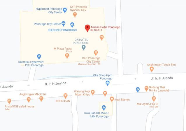 Map Letak Hotel Amaris Ponorogo