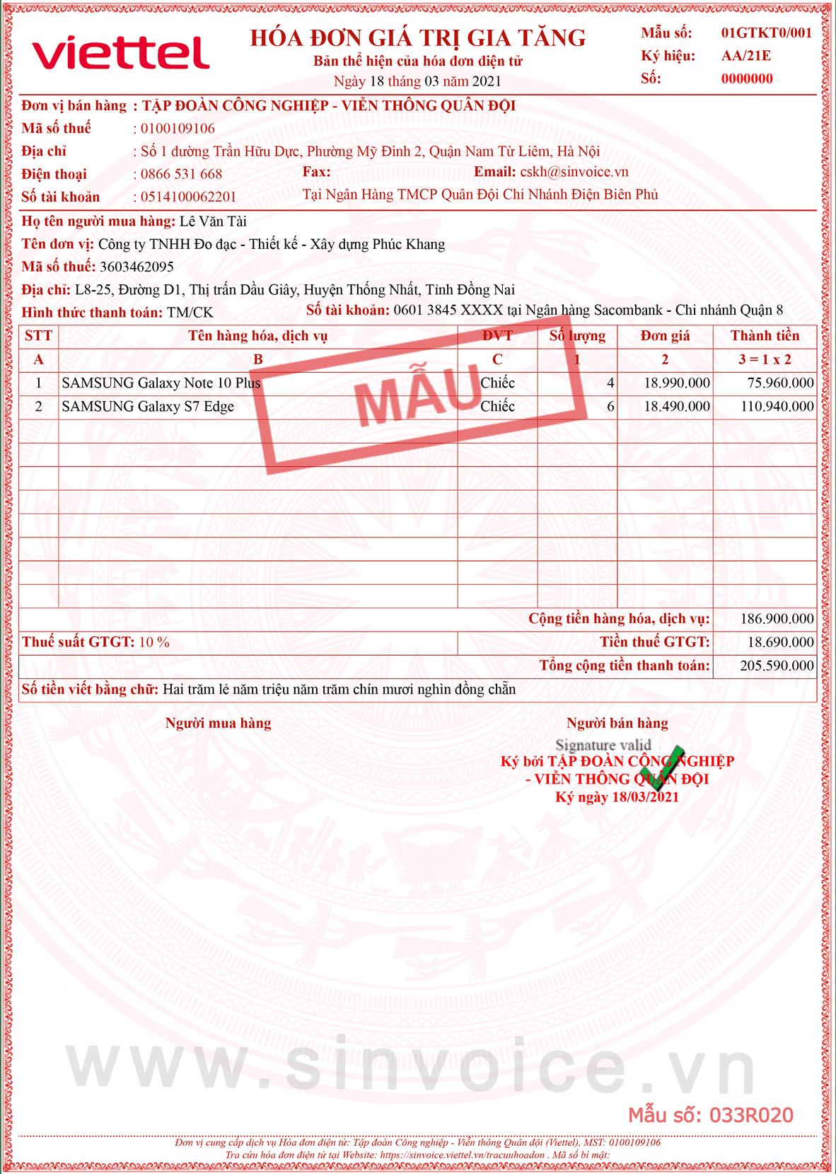 Mẫu hóa đơn điện tử số 033R020