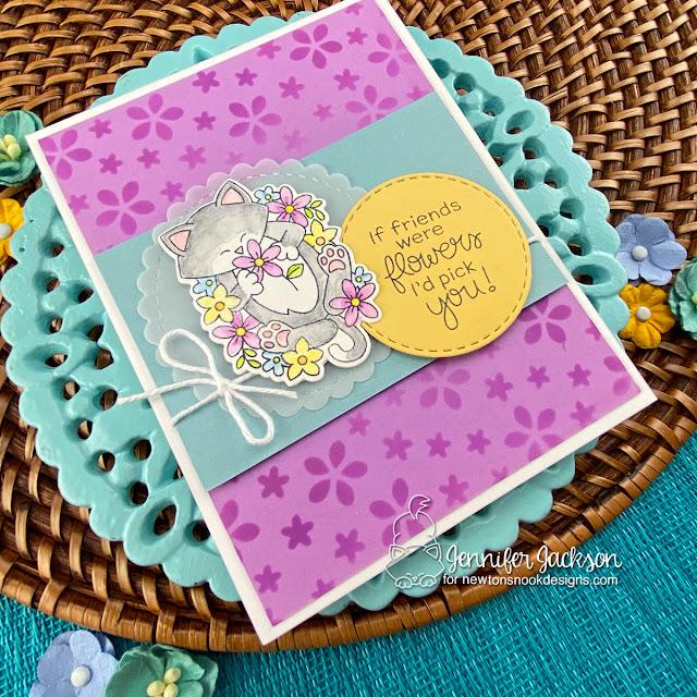 Kitty Friendship card by Jennifer Jackson | Newton's Flower Garden Stamp Set, Petitie Flowers Stencil and Circle Frames Die Set by Newton's Nook Designs #newtonsnook #handmade