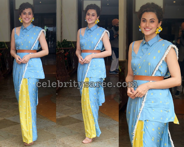 Tapsee in Designer Saree Collar Blouse