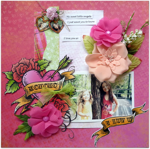 XOXO Love Scrapbook Layout by Dana Tatar Featuring DIY Photo Charms