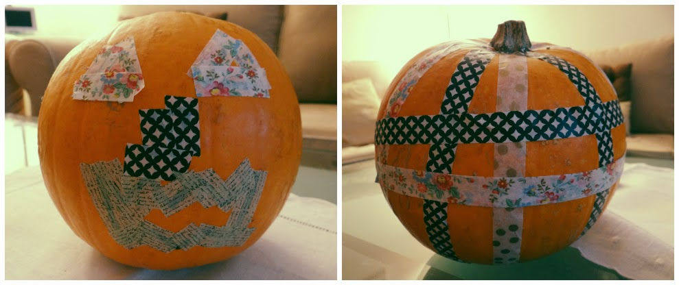 Decorar una calabaza con washi tape