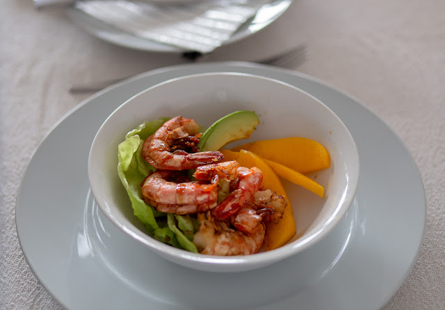 Prawns Starter with Avocado & Peaches Close-Up Photography