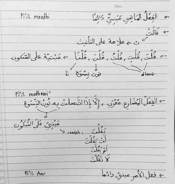 catatan fi'il madhi, mudhari, amr yang merupakan fi'il ajwaf