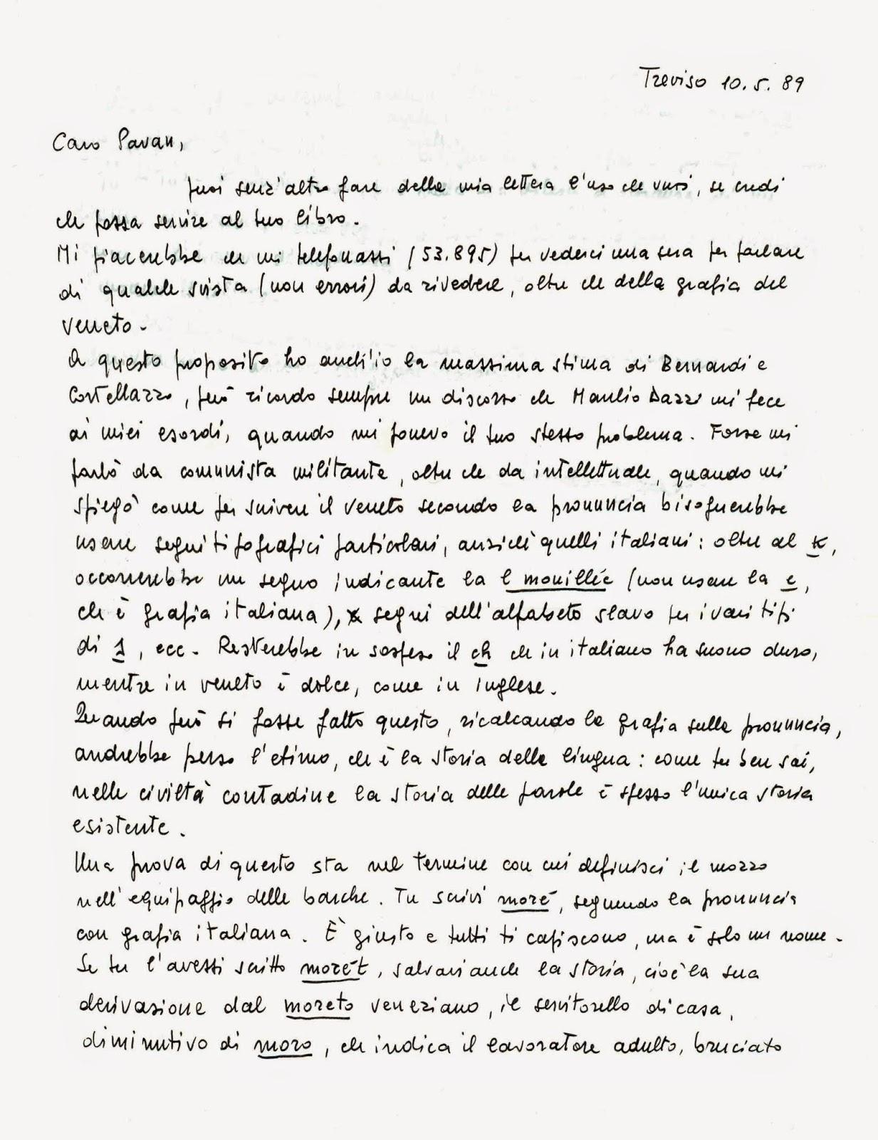 Conosciuto Camillo Pavan: Scambio di lettere con Sandro Zanotto RS98