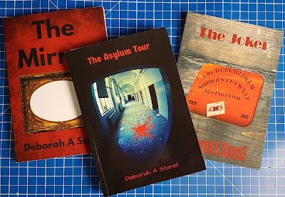 Book covers The Asylum Tour The Mirror and The Joker Horror Fiction by Deborah A Stansil