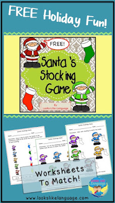 Another free matching Santa worksheet from Looks-Like-Language!