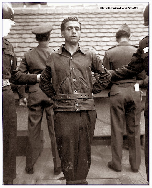 Anton Klein  warden Mauthausen-Ebensee concentration camp moments before his hanging  November 5 1948 at Landsberg Germany