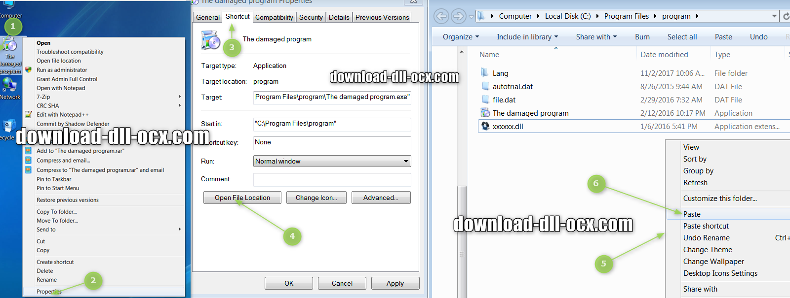 how to install sharedat.dll file? for fix missing