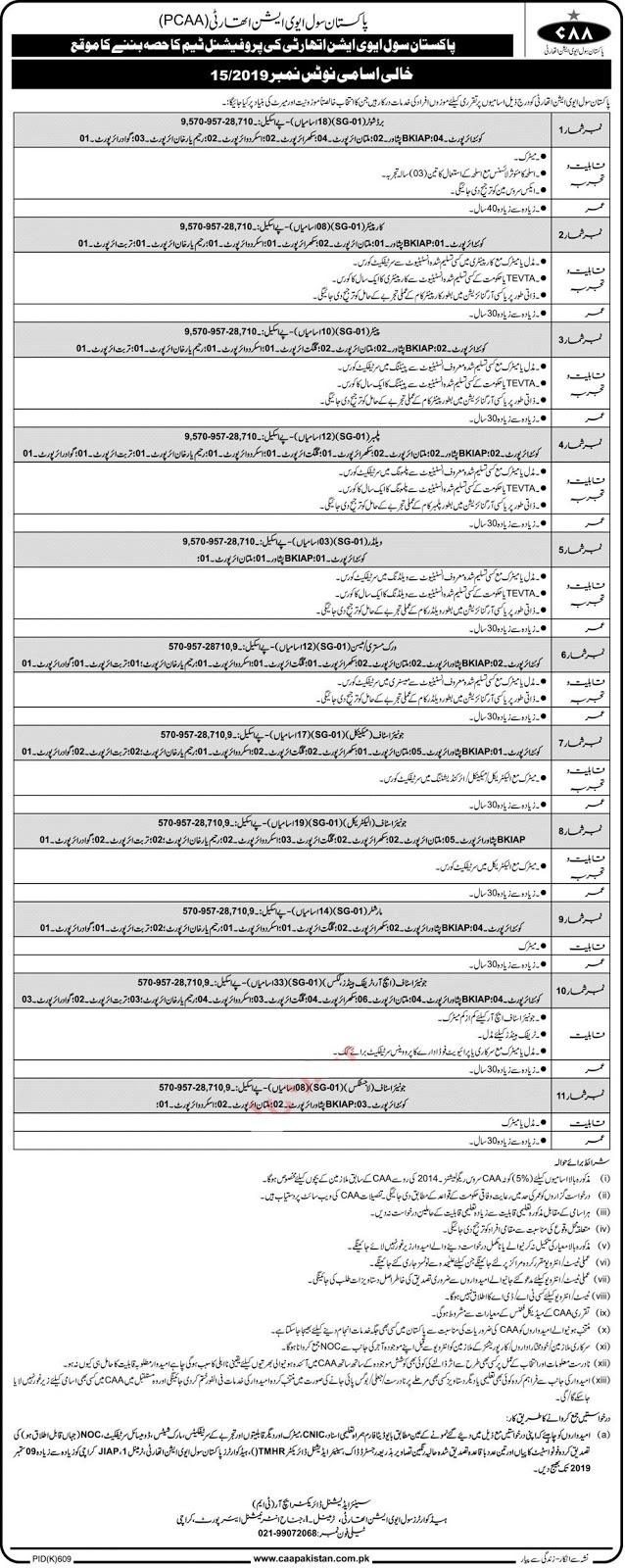 Pakistan Civil Aviation Authority PCAA 15/2019 Jobs 2019