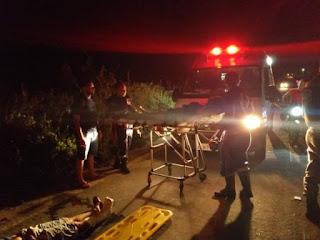 Acidente na ladeira das Gamelas envolvendo casal de Jaçanã deixa três pessoas feridas