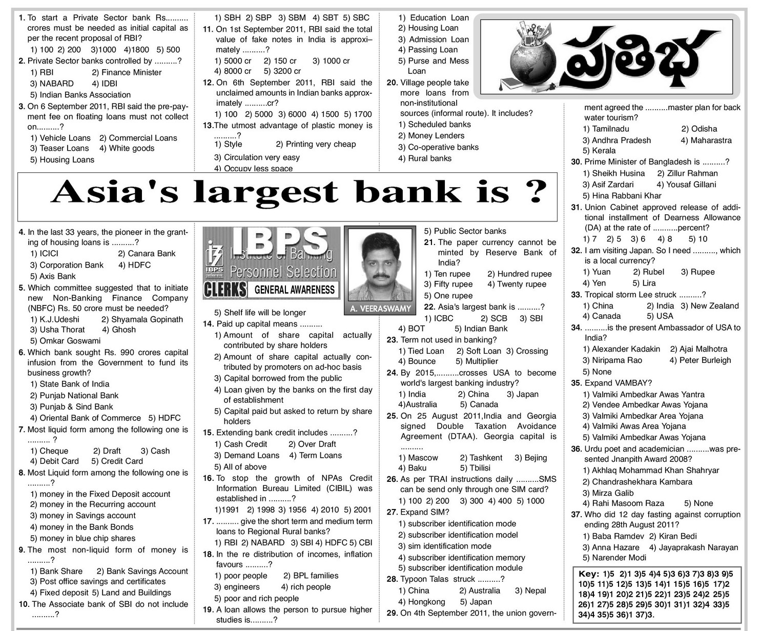 IBPS Practice questions from eenadu prathiba ~ All in One