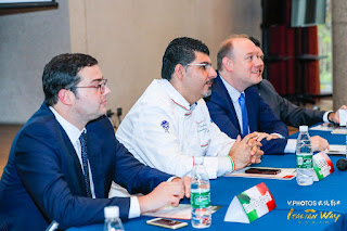 Enrico Berti Primo Segretario ufficio Commerciale Ambasciata italiana a Pechino, chef Massimo 马西莫主厨 (Massimiliano Esposito) presidente della delegazione cinese FIC, Sebastiaan Kleinsman Direttore area Nord Marriott international Hotels Group China