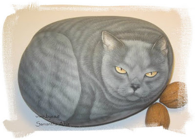 sassi dipinti gatto