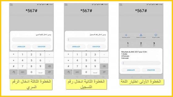 نتائج البكالوريا عن طريق الهاتف النقال SMS يكفي فقط للمترشح تشكيل الرقم #567 في هاتفه من أي متعامل للهاتف النقال وطلبه ثم ادخال رقم تسجيله والرقم السري وسيتمكن من معرفة نتيجته في البكالوريا