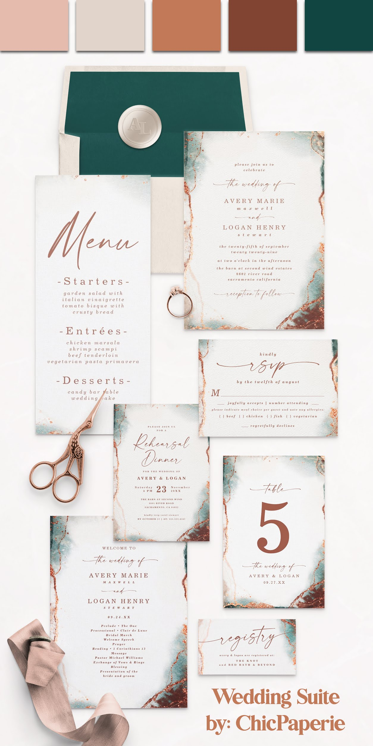 Modern Abstract Wedding Invitation Suite in Terracotta Colorway