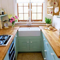 Beautiful narrow kitchen ideas with wooden countertops and teal cabinets