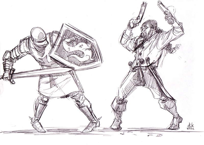 Dikkin' Around: Deadliest Warrior- Knight vs Pirate sketch