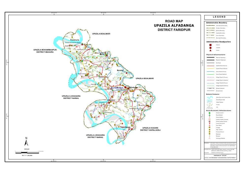Alfadanga Upazila Road Map Faridpur District Bangladesh