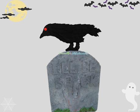 Lápida con cuervo