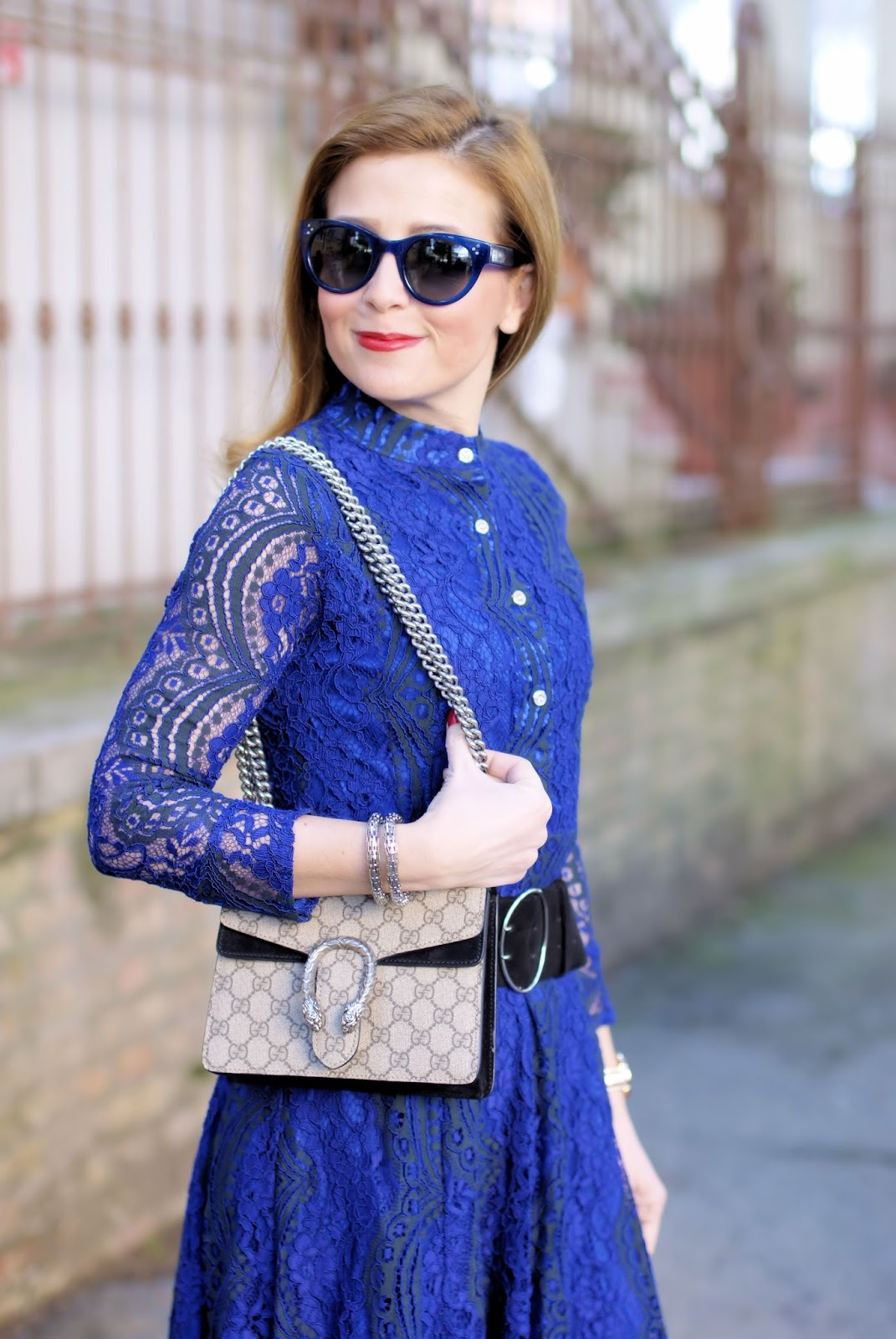 What to wear on Easter: my outfit idea with a blue lace dress and Gucci bag on Fashion and Cookies fashion blog, fashion blogger style