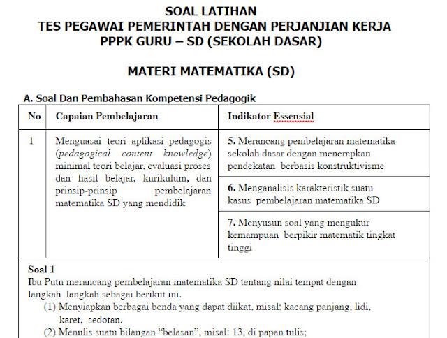 Contoh Soal PPPK (P3K) Matematika Guru SD + Kunci Jawabannya