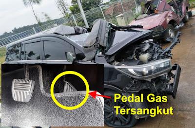 pedal gas tersangkut penyab mobil kecelakaan