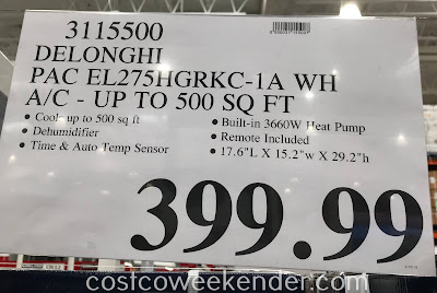 Deal for the De'Longhi PAC EL275HGRKC-1A WH Portable Air Conditioner at Costco