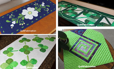 a variety of four green table runners