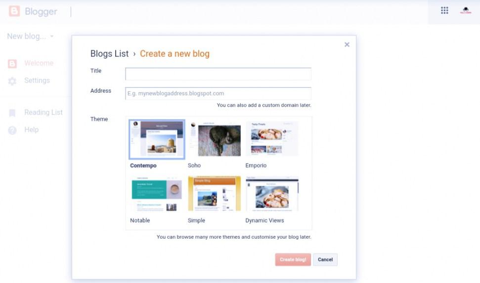 Blogger-website-creation